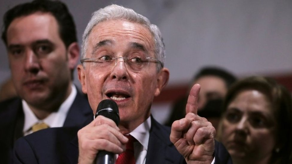 Colombia's former president Alvaro Uribe, speaks during a news conference after a private hearing at Supreme Court of Justice, in Bogota, Colombia October 8, 2019