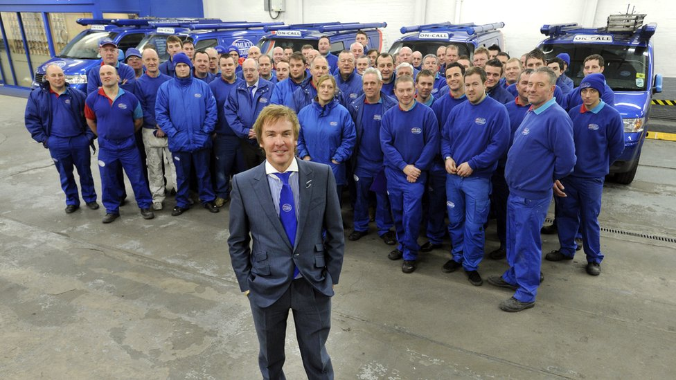Pimlico Plumbers chief executive Charlie Mullins with some of the staff involved in the TV show