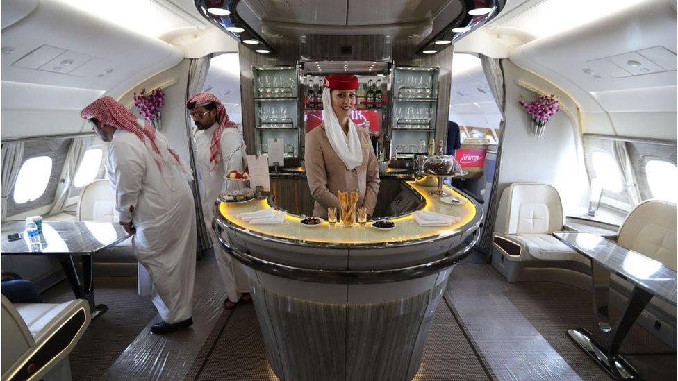 Bar en el interior del Airbus A380