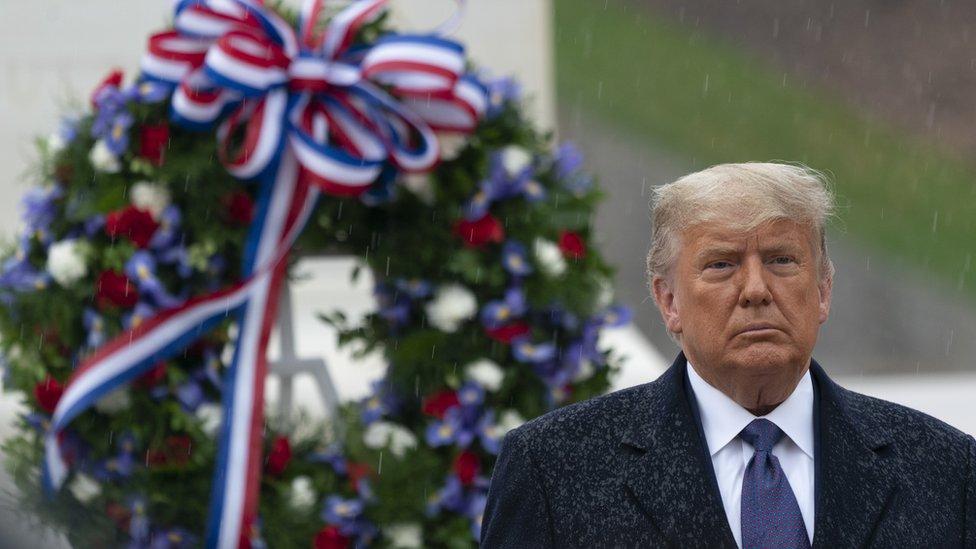 Donald Trump en el homenaje a los veteranos el 11 de noviembre de 2020