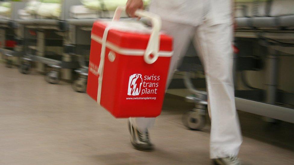 Una caja de trasplante de órganos