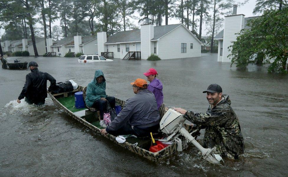 Inundaciones en Carolina del Norte.