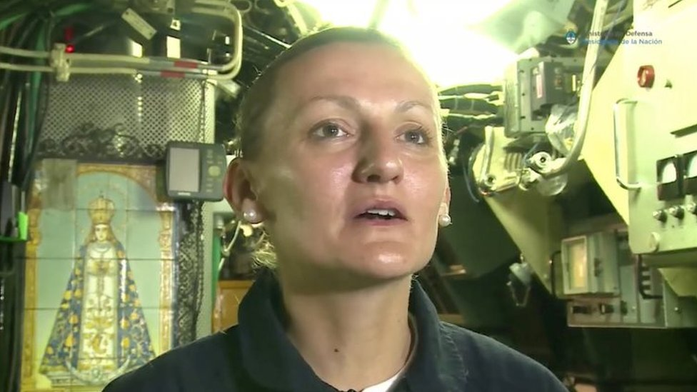 Maria Krawczyk, a submarine officer on board the Argentine navy submarine ARA San Juan, which went missing in the South Atlantic, is seen in this still image taken from a Ministry of Defence of Argentina video obtained by Reuters. Ministerio de Defensa de Argentina/via
