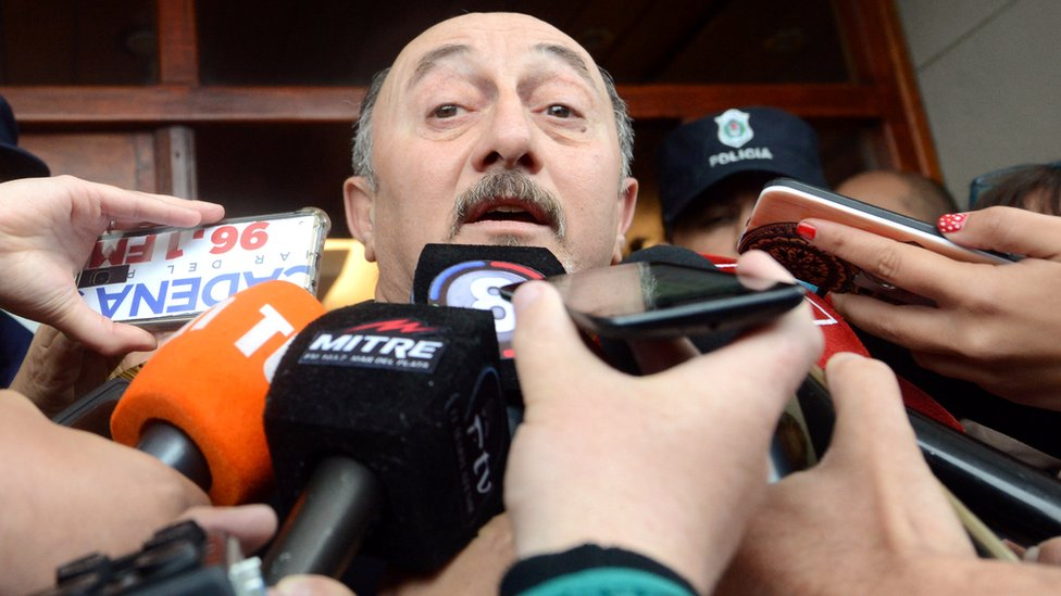 Gabriel Attis, chief of the naval base where the ARA San Juan submarine sailed from, speaks during a news conference in Mar del Plata, Argentina November 17, 2018