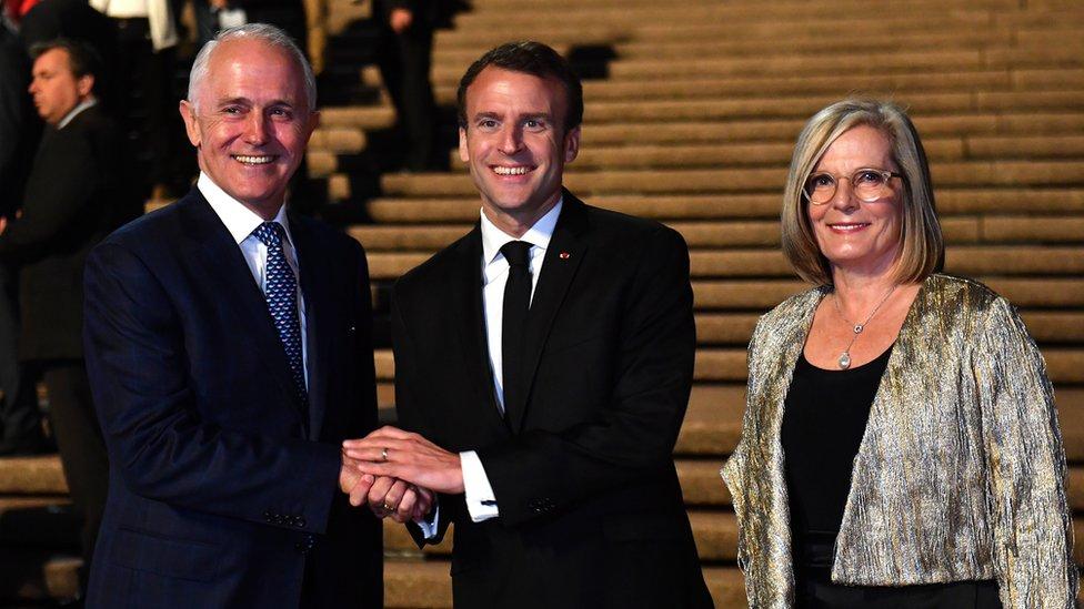 Macron Thanks Australian Leader S Delicious Wife Bbc News