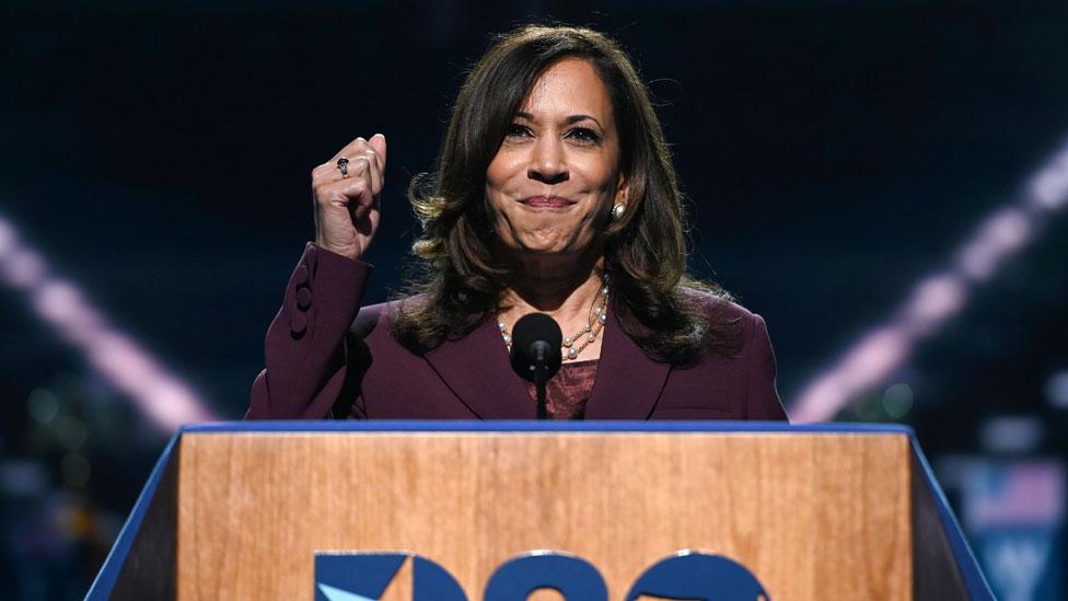在民主黨大會的第三晚,卡馬拉·哈里斯( Kamala Harris )接受了副總統候選人提名