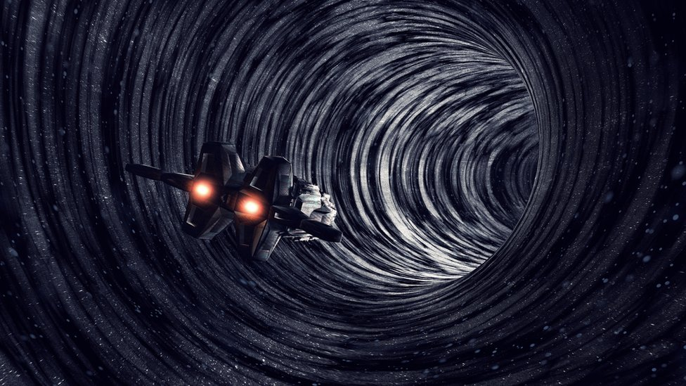 Ilustración de un agujero en el tiempo.