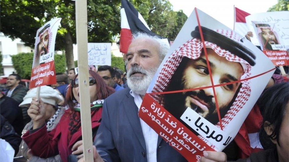 protest protiv Bin Salmana u Tunisu u novembru 2018