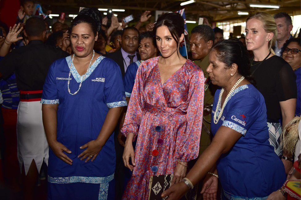 Duchess of Sussex touring the municipal market in Suva, Fiji, on 24 October 2018
