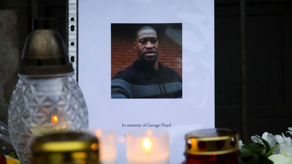 Tributes to George Floyd at a makeshift memorial