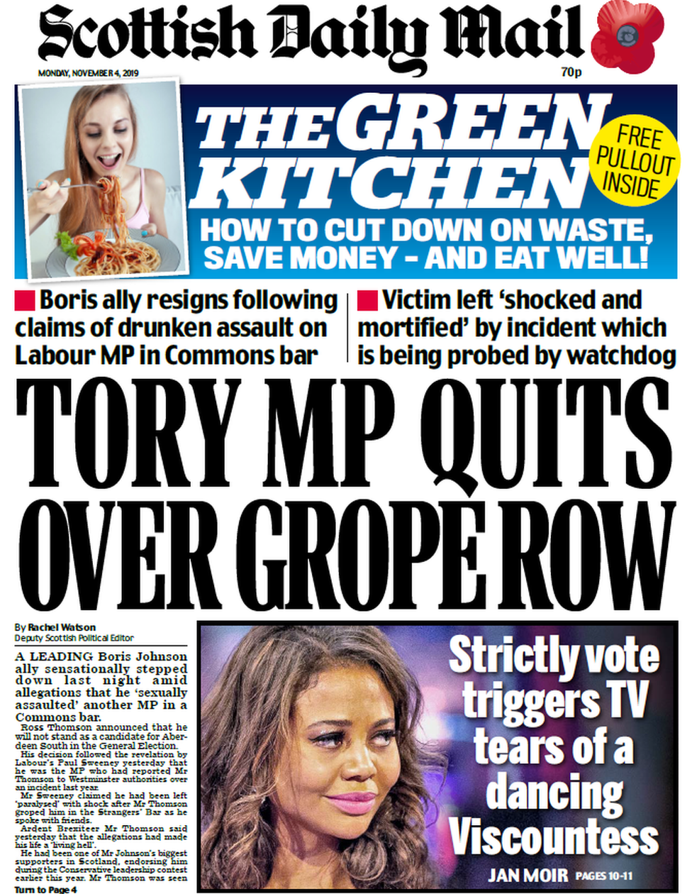 Scottish Daily Mail front page