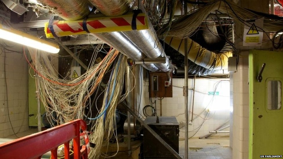 Plant room in the basement of the Palace of Westminster