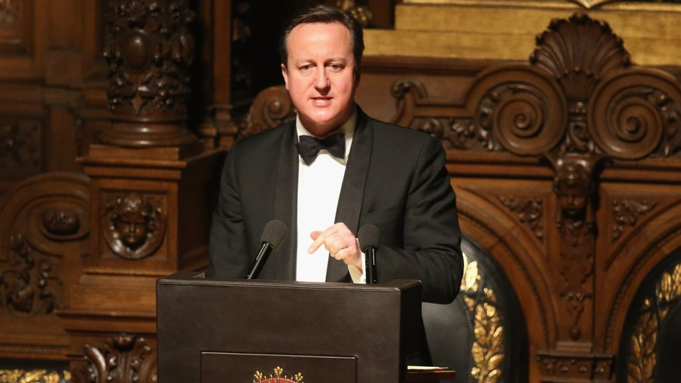 David Cameron making speech in Hamburg on 12 February 2016