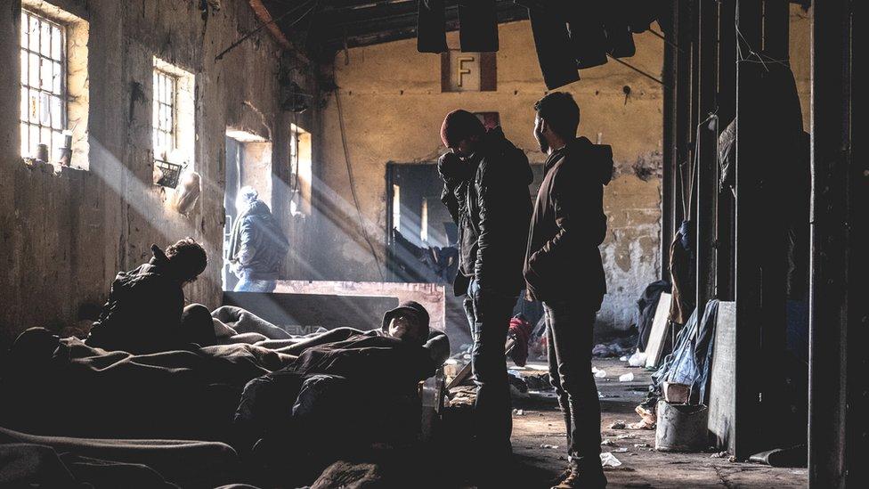 Izbeglice u skloništu u Beogradu