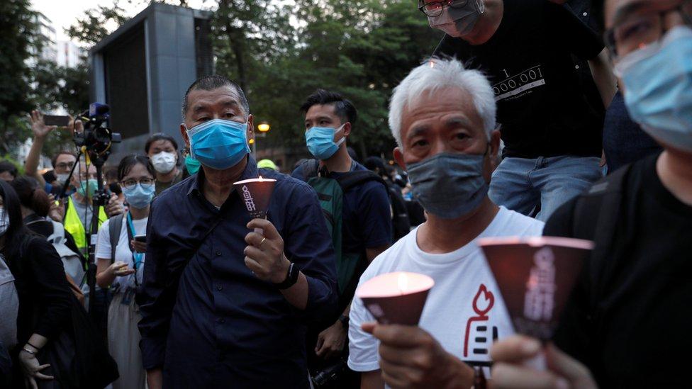 """黎智英今年6月在香港維園悼念""""六四事件"""",之後被香港警方以""""非結集結""""罪被捕。"""