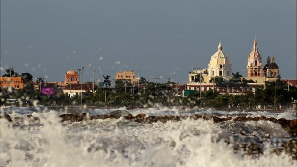 View of the storm surge caused by the passage of Hurricane Iota in the tourist sector of Bocagrande, in Cartagena, Colombia, 16 November 2020.