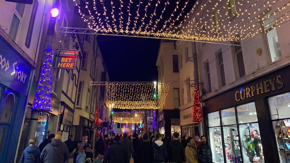 Christmas lights on Strand Street, Douglas