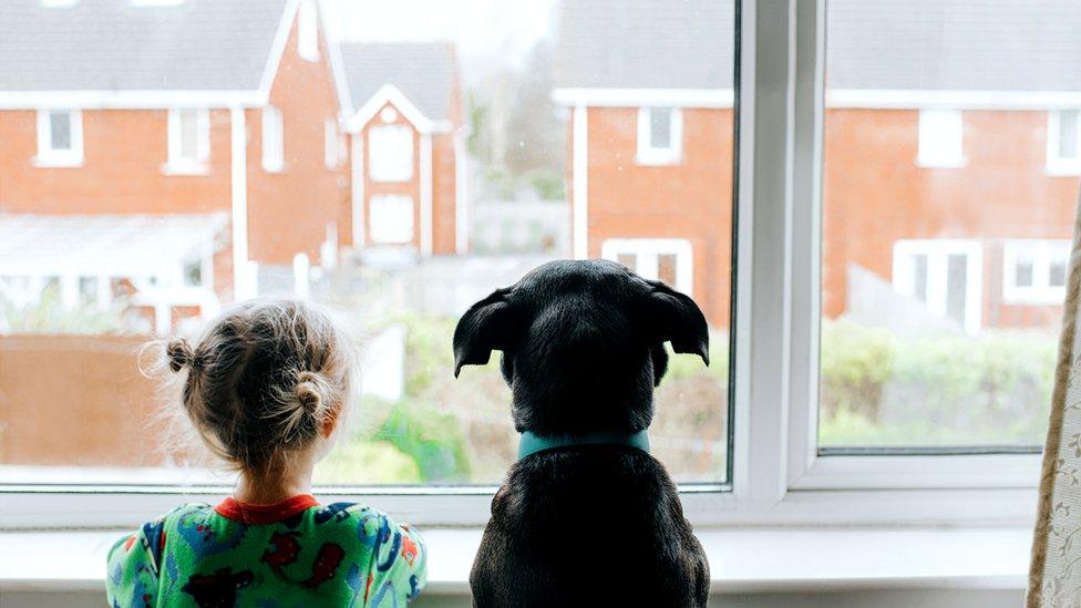 Little girl looks out window to empty street