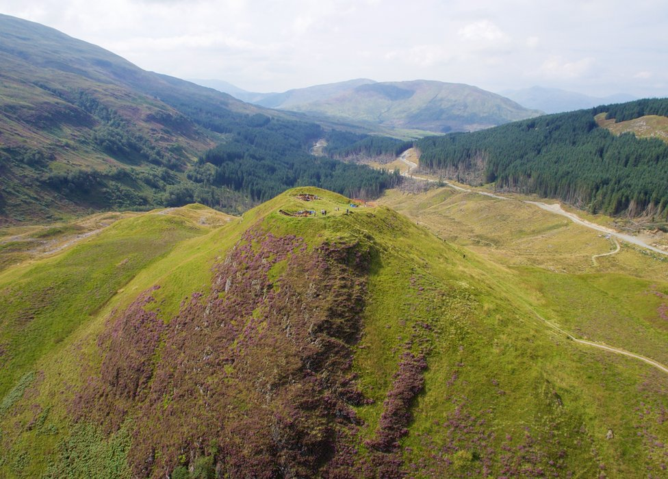 Aerial image of Dun Deardail hillfort