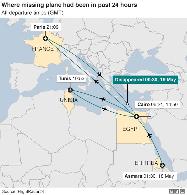 Where missing EgyptAir plane had been in past 24 hours