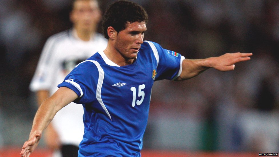 Javid Huseynov plays for Azerbaijan against Germany in a 2009 qualifier for the 2010 World Cup.