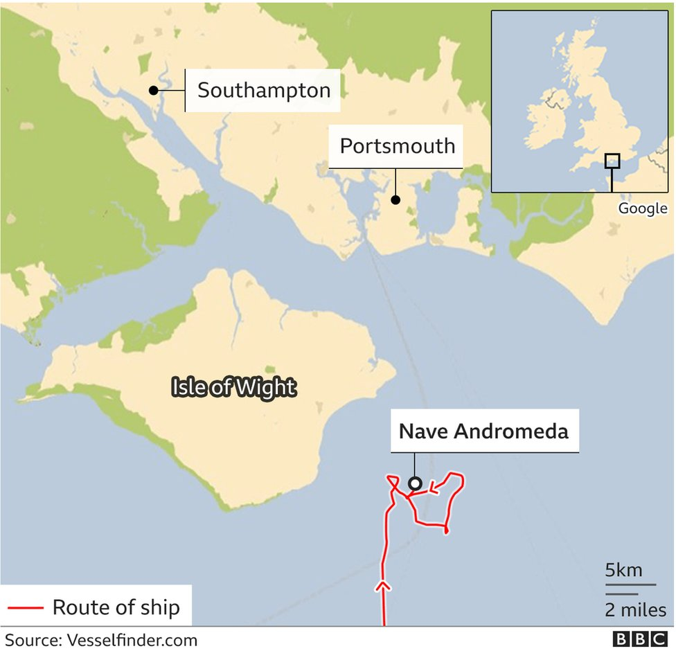 Map showing route of the Nave Andromeda in relation to Isle of Wight and Portsmouth