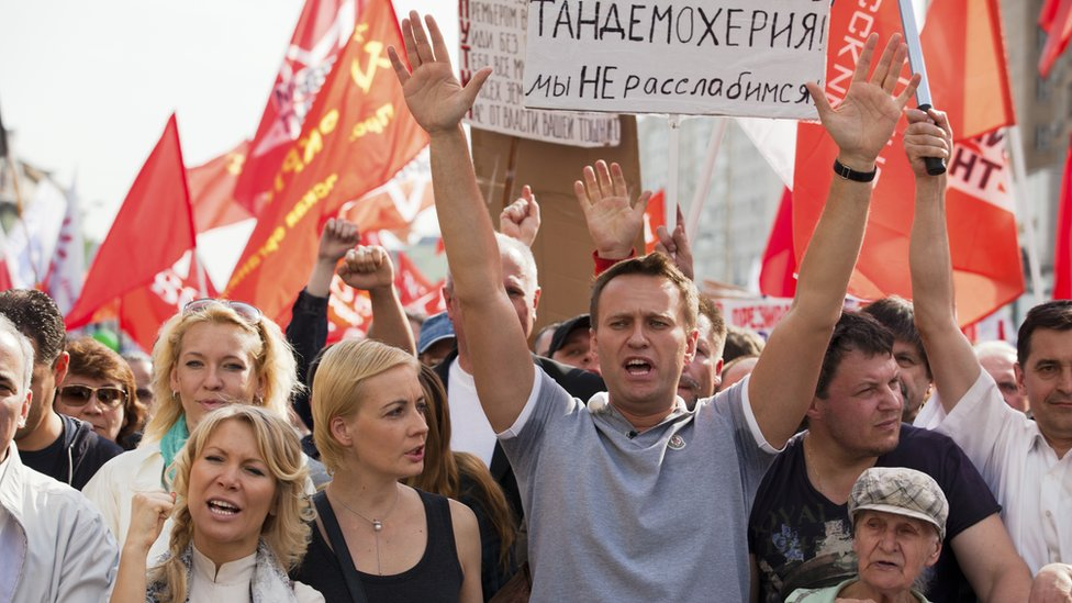 Russian opposition leader and blogger Alexei Navalny at a protest in Moscow in May 6 2012