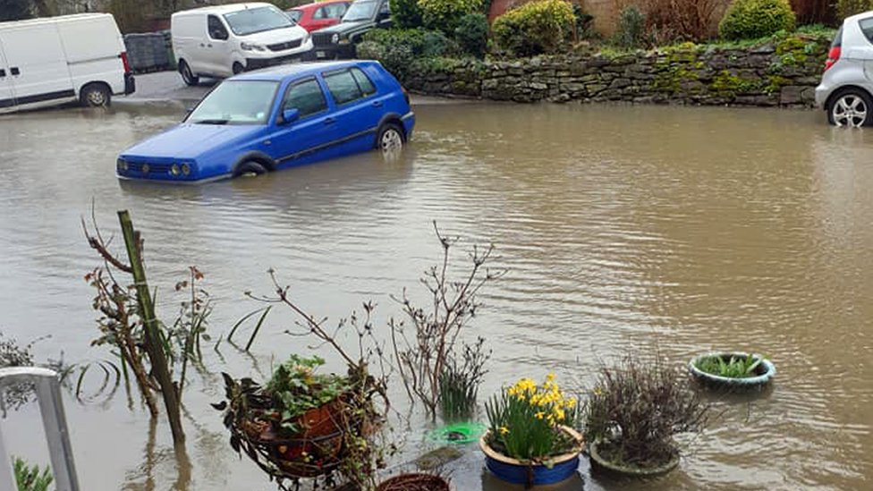 Flood waters seen in Coton Manor flats on Berwick Road, Coton Hill in Shrewsbury, in the county town of Shropshire, in western England. It sits inside a loop of the River Severn. copyright Christoper Beesley
