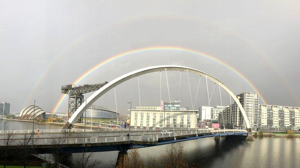Rainbows over squinty bridge in Glasgow