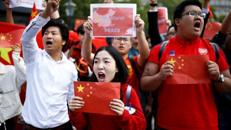Pro-Beijing demonstrators take to the streets of London