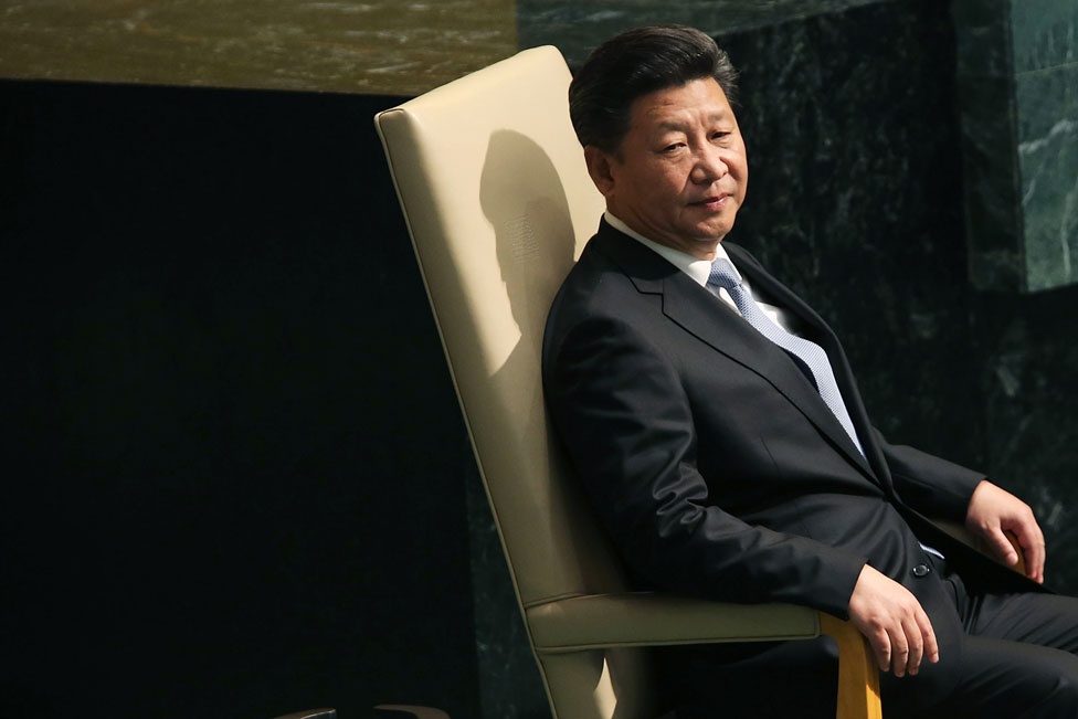 President Xi Jinping sits before delivering remarks at the United Nations General Assembly at the UN