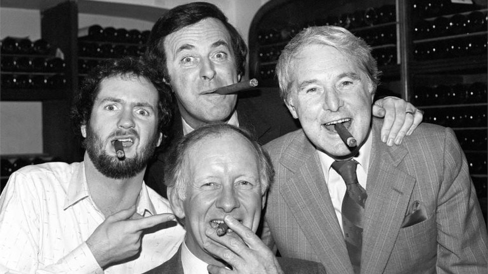 Sir Terry Wogan (back) with three other winners Kenny Everett (left), Ernie Wise (right), and Frank Bough in 1981