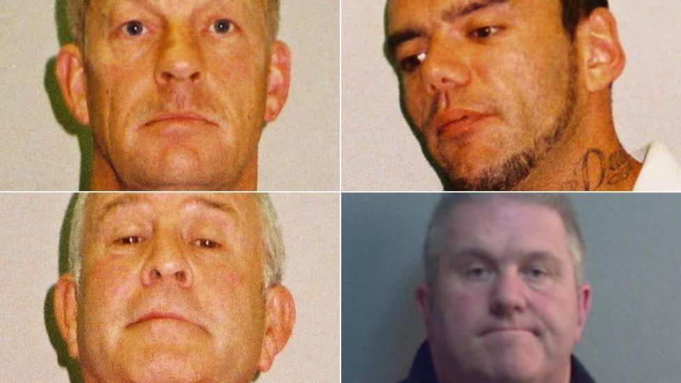 Police mugshots of Layton Davies, George Powell, Paul Wells and Simon Wicks