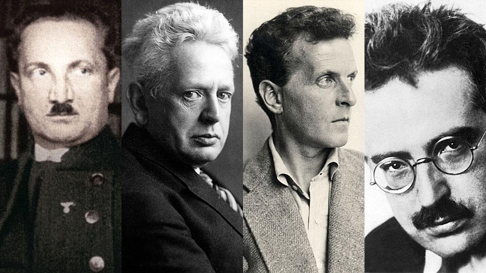 Los magos. De izquierda a derecha: Martin Heidegger, Ernst Cassirer, Ludwig Wittgenstein y Walter Benjamin.