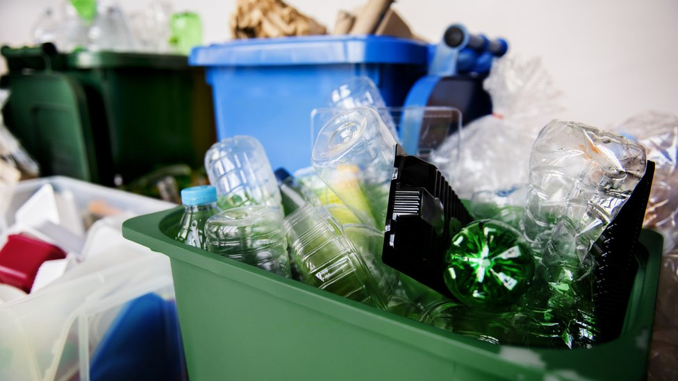 Plastic in recycling bins