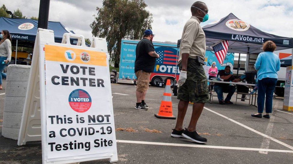 Voting station in California