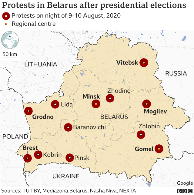 Map of protests