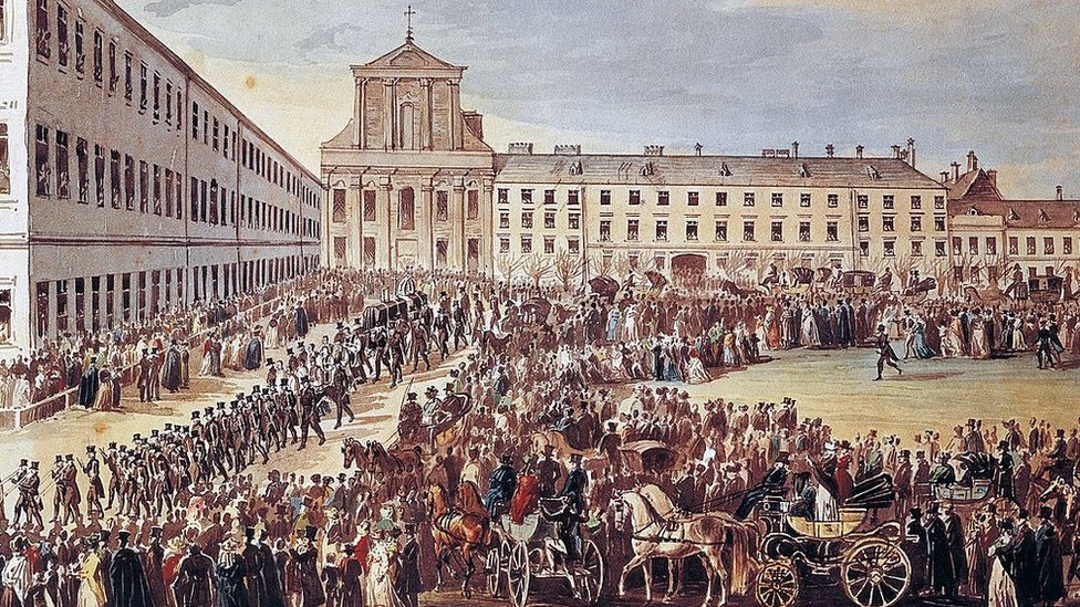 Painting of Beethoven's funeral in Vienna.