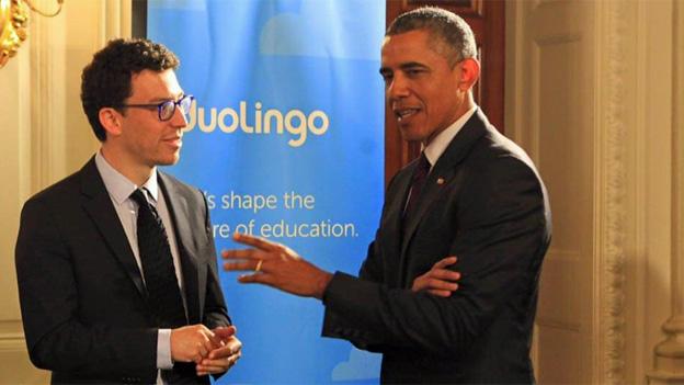 Luis von Ahn y Barack Obama