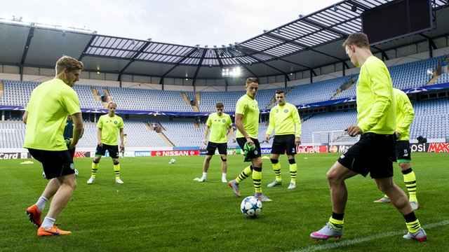 Celtic players training in Sweden