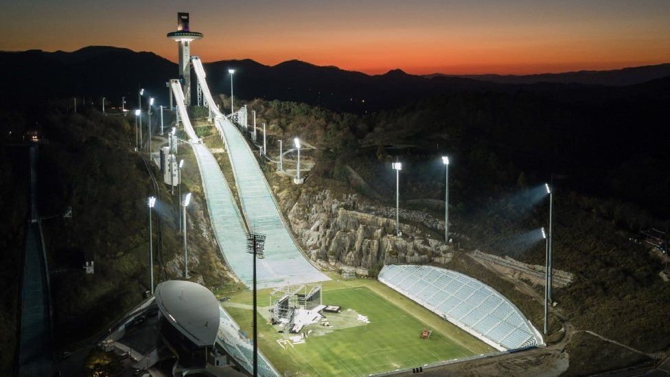 The ski jumping venue of the Pyeongchang 2018 Winter Olympic games, South Korea