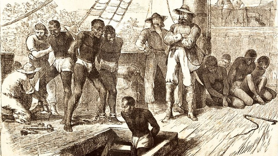 Engraving of black slaves on ship