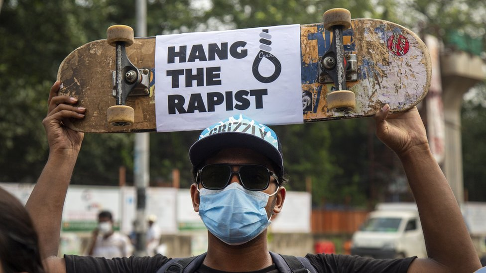 A student holds a placard during a protest against rape and sexual assaults on women as they demand justices in Dhaka, Bangladesh, 08 October 2020.