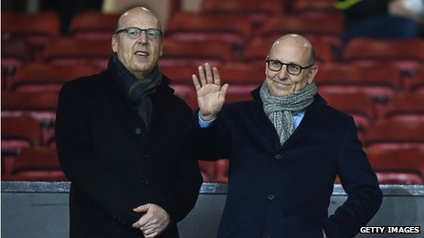 Joel Glazer (r) and Avram Glazer, the co-Chairmen of Manchester United, at the game v Burnley at Old Trafford in Feb 2015