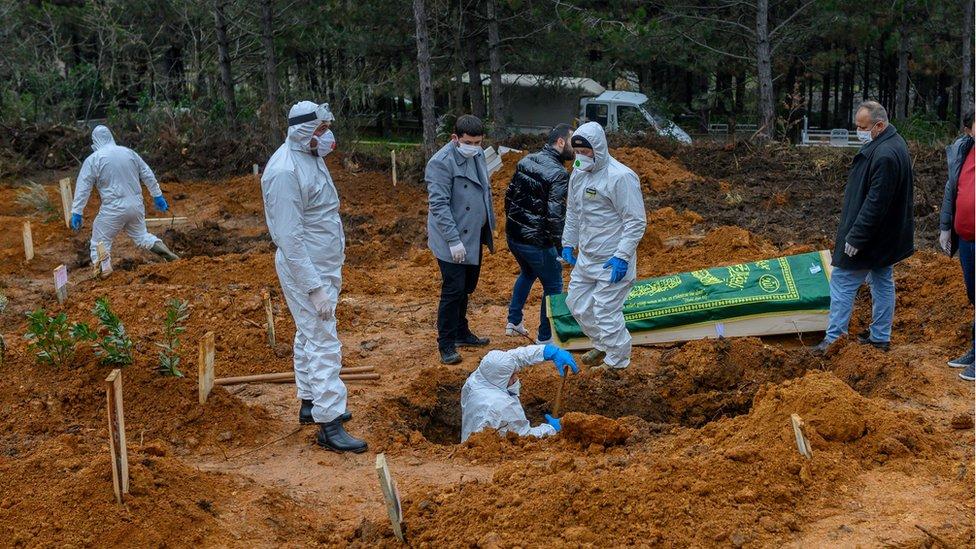 Beykoz'da koronavirüsten hayatını kaybedenlerin defnedildiği mezarlık.