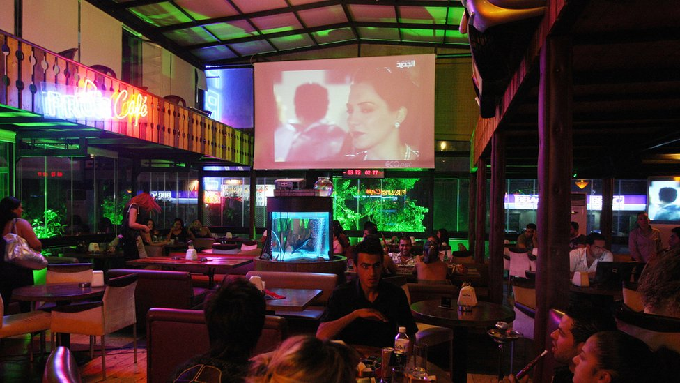 Beirut restaurant with TV screen