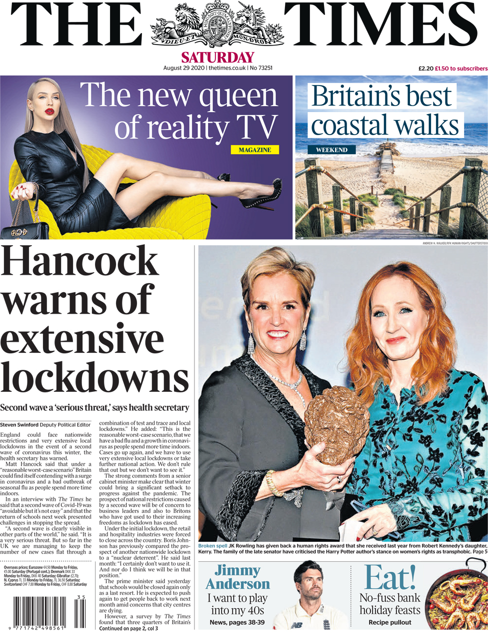 The Times front page 29 August 2020