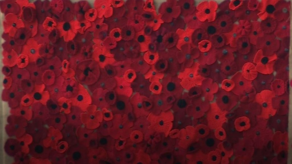 Rotherham knitted poppy display marks end of WWI