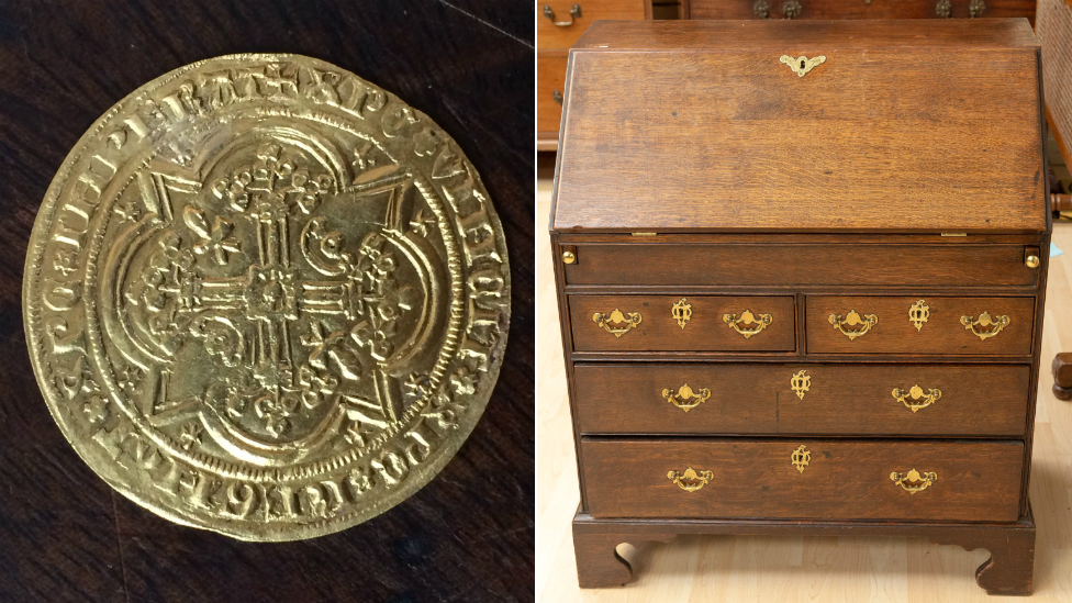 'Rare' 14th Century gold coin found in secret drawer in Derbyshire