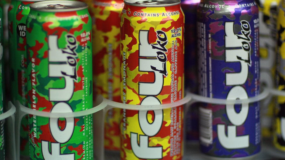 Cans of Four Loko are seen in the liquor department of a Kwik Stop store on October 27, 2010 in Miami, Florida